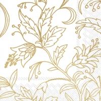 Servietten 33x33 cm - GOLDEN FLOWER white gold