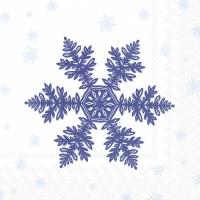 Servietten 33x33 cm - BIG SNOWFLAKE dark blue