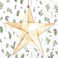 Servietten 33x33 cm - WHITE XMAS STAR