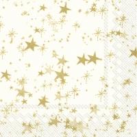Servietten 33x33 cm - STERNENHIMMEL cream gold