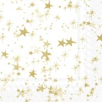 Servietten 33x33 cm - STERNENHIMMEL white gold