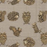 Servietten 33x33 cm - PINECONE ANIMALS brown