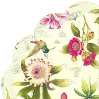 Servietten - Rund - HUMMINGBIRD AND BLOSSOMS cream