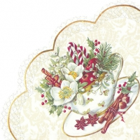 Servietten - Rund - CUP OF CHRISTMAS white