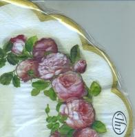 Servietten - Rund - Englische Rosencreme