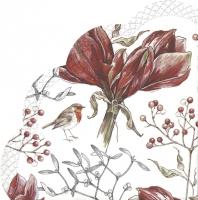 Servietten - Rund - WINTER AMARYLLIS white