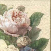 Servietten 25x25 cm - FAIRY ROSE cream
