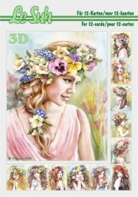 3D Bogen Buch Blumenmädchen Format A5