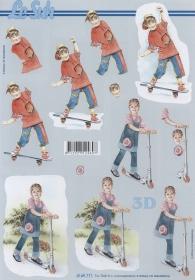 3D Bogen Kinder mit Roller+Skatboard - Format A4