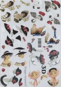 3D Bogen 8x Dame mit Hut Format A4