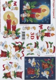 3D Bogen Format A4 - Kerzen und Glocken