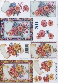 3D Bogen Blumen im Rahmen Format A4