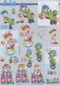 3D Bogen Format A4 Clowns