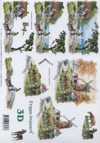 3D Bogen Format A4 - Bauernhof mit Mühle