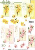 3D Bogen Narzissen rosa+gelb Format A4