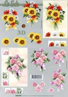 3D Bogen Sonnenblumen und Rosen