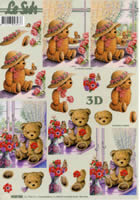 3D Bogen Bär mit Hut+Blumen Format A4