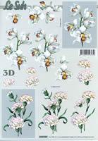 3D Bogen Nelken weiß Format A4