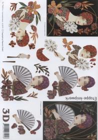 3D Bogen - Format A4 - Frau mit F䣨er