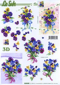 3D Bogen Stiefmütterchenstrauß Format A4