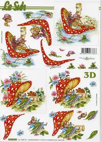 3D Bogen Format A4 Frau Maus mit Pilz
