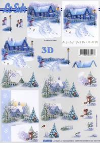 3D Bogen Hauser im Schnee - Format A4