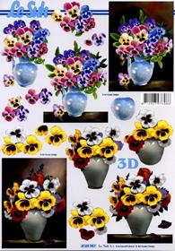 3D Bogen Format A4 Veilchen in Vase