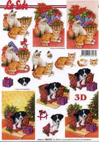 3D Bogen Weihnachtskorb mit Katze/Hund - Format A4