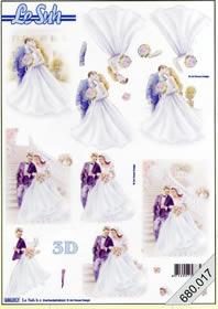 3D Bogen gestanzt 2x Brautpar - Format A4