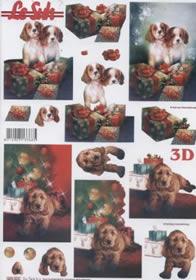 3D Bogen gestanzt Weihnachten mit Hund - Format A4
