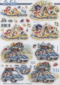 3D Bogen gestanzt Urlaub Zelt/Auto - Format A4