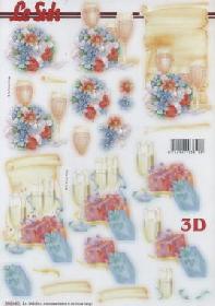 3D Bogen gestanzt - Champagner Party Format A4