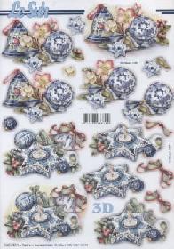 3D Bogen gestanzt Weihnacht blau Vogelhaus - Format A4