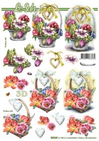 3D Bogen gestanzt Blumenkorb Format A4