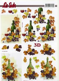 3D Bogen Weinflasche+Weintrauben Format A4