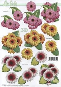 3D Bogen 3 x Blumen - Format A4