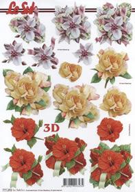 3D Bogen Format A4-3 x Blumen