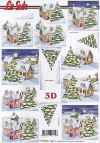 3D Bogen Winterliches Dorf - Format A4