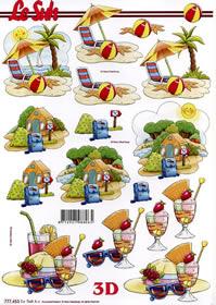 3D Bogen Strand+Zelten+Urlaub - Format A4