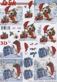 3D Bogen Weihnachts Hund+Katze - Format A4
