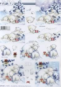 3D Bogen Bären im Schnee - Format A4