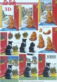 3D Bogen Katze und Hund