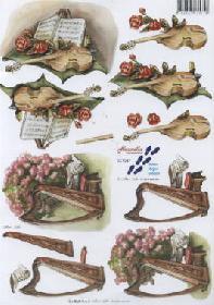 3D Bogen Geige+Harfe+Blumen - Format A4