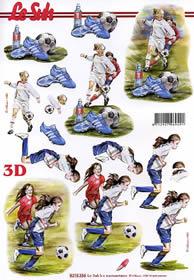 3D Bogen Mädchen Fussball - Format A4