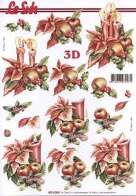 3D Bogen Weihnachtsblum mit Kerze - Format A4
