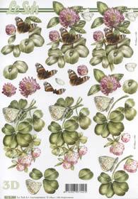 3D Bogen - Schmetterling auf Klee Format A4