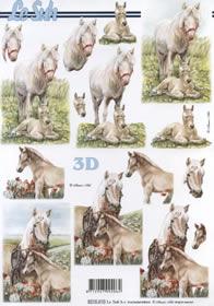 3D Bogen Pferd mit Füllen - Format A4