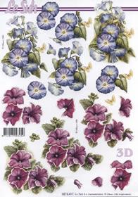 3D Bogen - 2x Blumen rot/blau Format A4