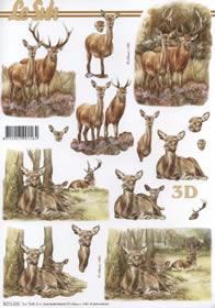 3D Bogen Hirsche im Wald - Format A4