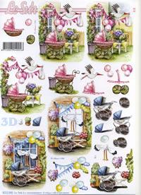 3D Bogen Kinderwagen rosa+blau - Format A4